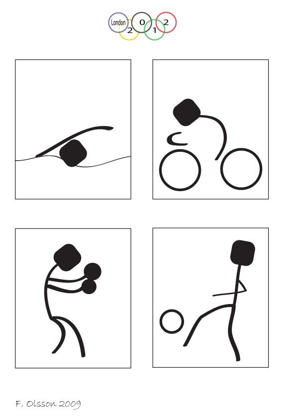 Piktogram för OS i London 2012. Simning, cykling, boxning oh fotboll. Skoluppgift från 2009.