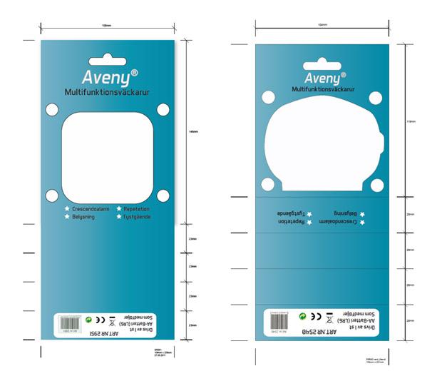 Väckarklockor som behövde designade förpackningar.