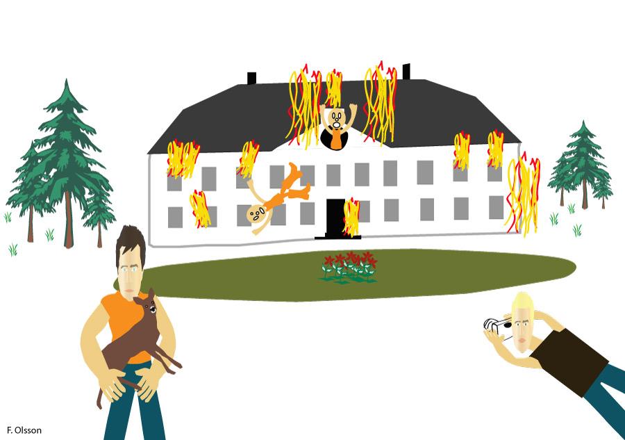 Rådjuret och elden - en teckning