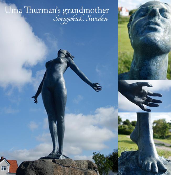 Uma Thurmans mormor som staty i Smygehuk.