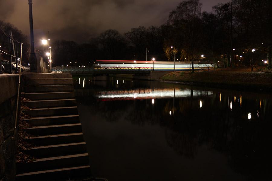 Spårvagn i Göteborg på natten