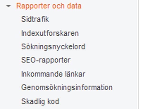 Bing Webmaster Tools - rapporter och data