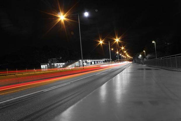Nattfotografering i Stockholm - Alviksbron