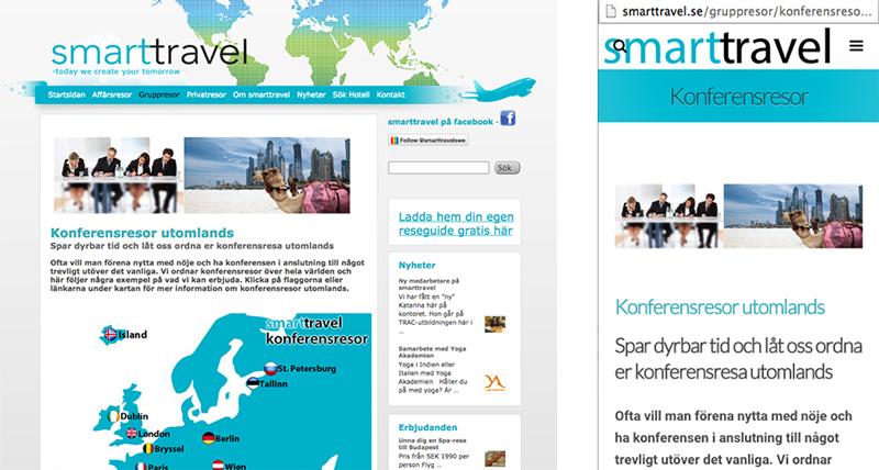 Kundcase - smarttravel - webbdesign och mobilanpassning
