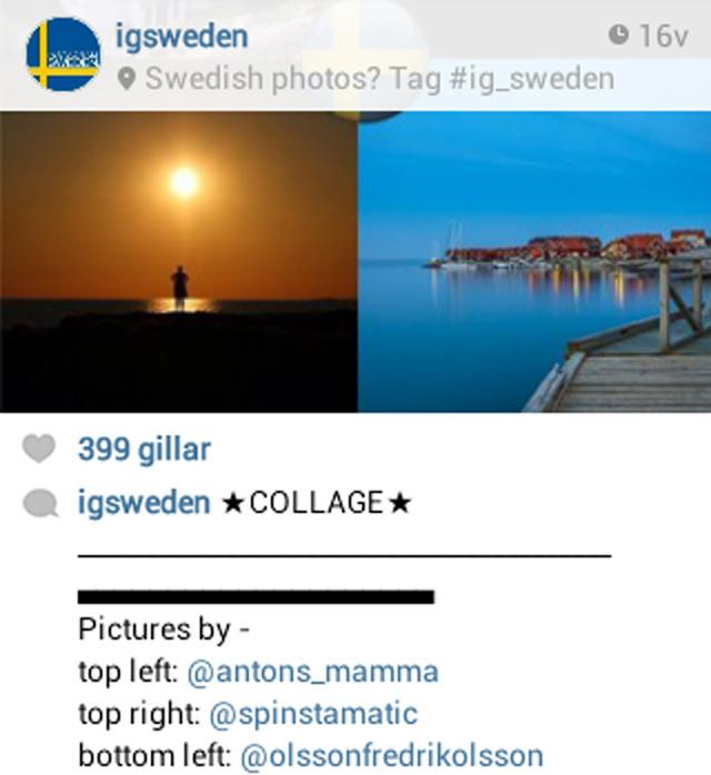 Meddelande på Instagram