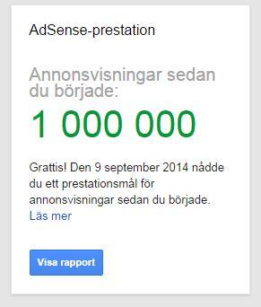 En miljon annonsvisningar med Google Adsense